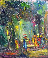 Ölbild,Afrikanische Malerei, Menschen im Urwald,wohl 1960 ,Andre Bomolo