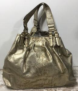 Jessica Simpson Metallic Gold Shimmer Satchel Tote Shoulder Handbag XL