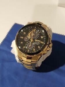 Seiko Men's Gold Watch with 11 Diamonds SSC572P 44mm Black Dial Perpetual Solar