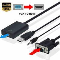 VGA Male To HDMI Female 1080P HD+ Audio TV AV HDTV Cable Converter Adapter D8V2