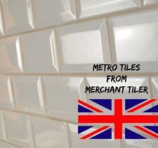6 M2 GLOSS CREAM METRO BEVELLED BRICK KITCHEN BATHROOM CERAMIC WALL TILE 10x20cm
