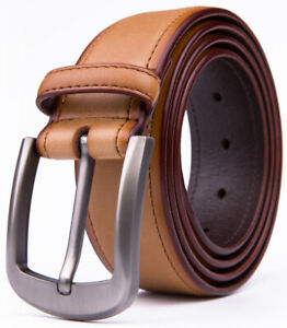 Men's Genuine Leather Belt With Classic Silver Buckle 1.5inch Width