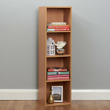 Wooden Beech Bookcase Shelves 4 Tier Cube Storage Display Unit Modular Shelving
