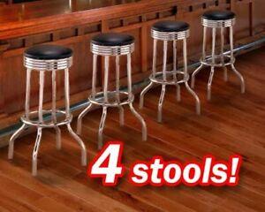 """4 Chrome 29"""" Black Commercial Grade Restaurant Strong Swivel Barstools"""