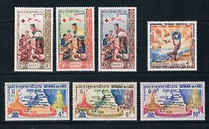 Laos 1963-64 3 Commemorative sets */MvLH SG 132-4, 135-8