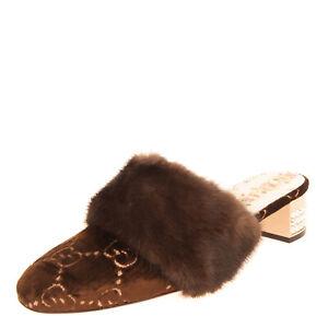 RRP€1010 GUCCI Velour Mule Shoes EU38.5 UK5.5 US8.5 Mink Fur Guccissima Crystals