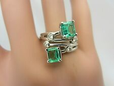Vintage 14K White Gold 1.60 CT Colombian Emerald and Diamond Ring 1.92 ct TW