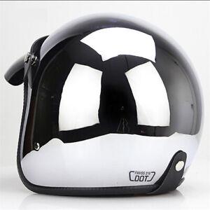 DOT 3/4 Open Face Motorcycle Helmet Chrome Silver Half Helmet Cruiser Scooter XL