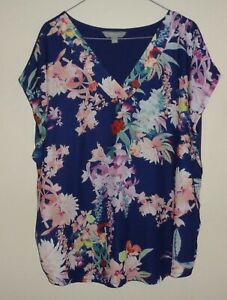 SUZANNE GRAE WOMENS NAVY FLORAL PRINT SHORT SLEEVE TOP - SIZE XL (16-18)