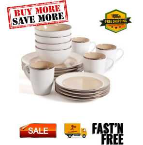 Amberwood 16-Piece Dinnerware Set, for 4, reactive stoneware, Dishwasher safe.