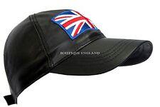 BASEBALL Black Union Jack England Unisex Nappa Leather Hip-Hop Cap Hat