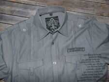 ROAR Gray Embroidered Long Sleeve Button Front Shirt Men's Size M NWOT