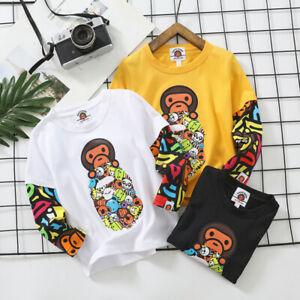 2022 Kids Boy Girl Animal Zoo Monkey Stand Long Sleeve Shirt Tops Tee T-shirt