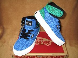 NEW VANS ATWOOD HI SHOE DIGI EARTH WATER BLUE/GRASS GREEN YOUTH  10.5,11,11.5