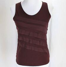 Ann Taylor Loft Sleeveless Top Sz XS Maroon Purple Ruffle Cotton Knit Shirt