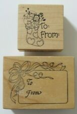 2 PSX To & From WM Rubber Stamps: ribbon, stocking, toys, gift tag, Christmas