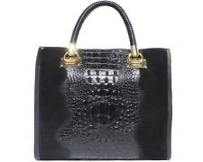 Italian Genuine Leather Tote Handbag Black Crocodile Patent Made in Italy
