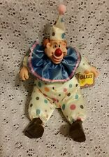 "Whimsical Clown Bean Bag Fabric Doll-by Russ ""Corkles"" with tag-Clay Face-Unique"