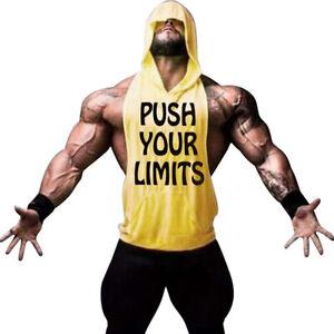 Men Gym Vest Hooded Sleeveless Workout Fitness Tanktop Bodybuilding Cotton Vest