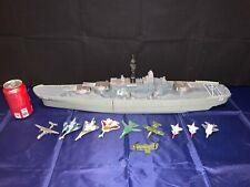 "Motor Max Giant Uss Ship Battleship Boat Navy Vessel 28"" Long w/ Lot of aircraft"