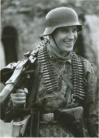 """German WW II """" 5 x 7 Inch  """" Photo  ** Soldier With Machine Gun & Ammo **"""