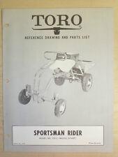 TORO MOWER OPERATING PARTS MANUAL MODEL. SPORTSMAN RIDER BOOK NO. 8138