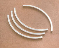 925 Sterling Silver 4 Long Curve Square Tube Beads 2x50 mm.