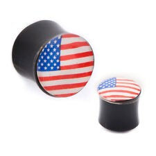 PAIR-Horn w/Patriotic US Flag Double Flare Ear Plugs 10mm/00 Gauge Body Jewelry