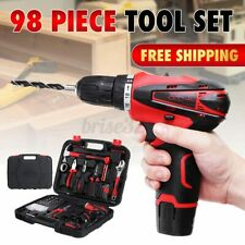 98pcs 12-Volt Power Tool Electric Cordless Drill / Driver with Bit Set & Battery