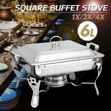 6L Stainless Steel Square Buffet Stove Dish Set Container Food Warmer
