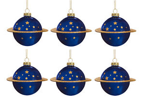 Sass & Belle Planet Shaped Blue Glass Bauble Round Christmas Xmas Tree Decor x6