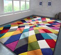 Funky Spectrum Rhumba Handcarved Soft Feel Multi Coloured Rug in various sizes