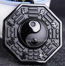 Natural Black Obsidian Carved Chinese TaiJi BaGua Lucky Pendant +Beads Necklace