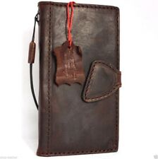 genuine vintage leather Case for iPhone 6 6s book wallet cover magnetic brown uk