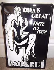 BACARDI CUBAN RUM/CUBA IS GREAT :EMBOSSED(3D) METAL ADVERTISING SIGN 30X20cm