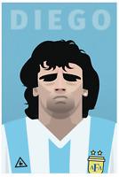 Diego Maradona Retro Glossy Art Print 8x10 Inches Napoli Argentina Football