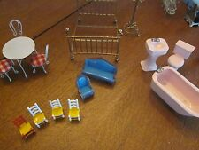 Lot of vintage doll house furniture, bedroom, bath, lots of items.
