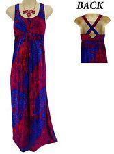 XS X-SMALL SEXY Women FUCHSIA/BLUE PRINT MAXI MATERNITY DRESS Summer Baby Shower