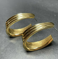 Vintage Signed MONET Jewelry Earrings Hoops Pierced Gold Tone