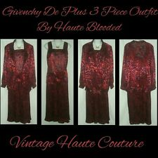 Givenchy En Plus Vintage Couture 3 Piece Red Sheer Metallic Outfit Pleated Skirt