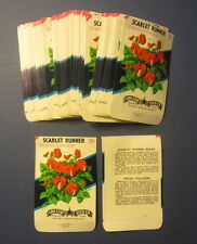 Wholesale Lot of 100 Old Vintage SCARLET RUNNER FLOWER SEED PACKETS - EMPTY