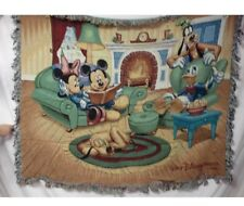 "USA Made Walt Disney World Scene Tapestry Throw Blanket  60""x 50"" , New  In Bag"