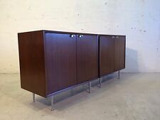 two George Nelson cabinets for Herman Miller walnut aluminum