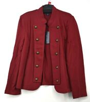 Tommy Hilfiger Womens Maroon Button Placket Long Sleeve Military Band Jacket L