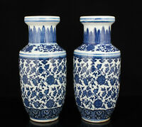 A Pair China Hand-painted Jingdezhen Blue And White Porcelain Vase