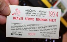 Atlanta Braves 1974 Spring Training Pass West Palm Beach Municipal Stadium