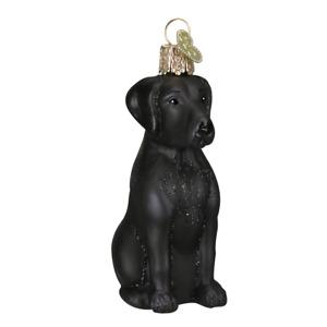 Old World Christmas BLACK LABRADOR Lab Dog (12385)N Glass Ornament w/ OWC Box