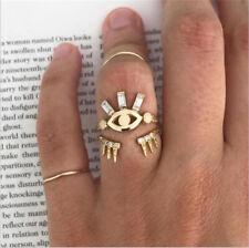 2Pcs Boho Vintage Evil Eye Crystal Ring Set Finger Rings Lucky Protect Jewelry