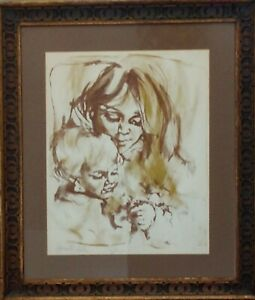 Signed Lithograph Hyacinthe Kuller 1960's. In period frame 20/24