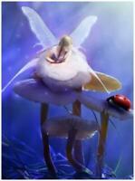 """Tiny Fairy with Ladybug Mushroom Fairie Jigsaw Puzzle 285 Pieces 12""""X16.5"""" Piece"""